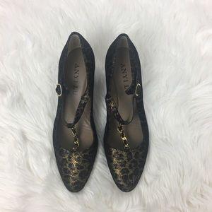 Anyi lu Wedge Animal Print TStrap Shoes Size 38